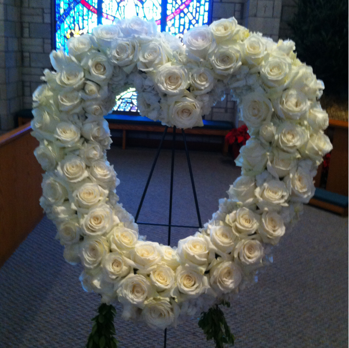 White Rose Heart Funeral Arrangement Velene's Floral