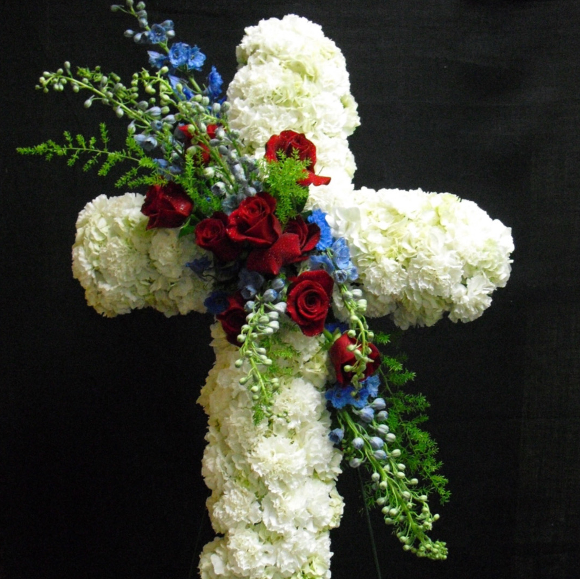 White Rose Cross Arrangement Velene's Floral