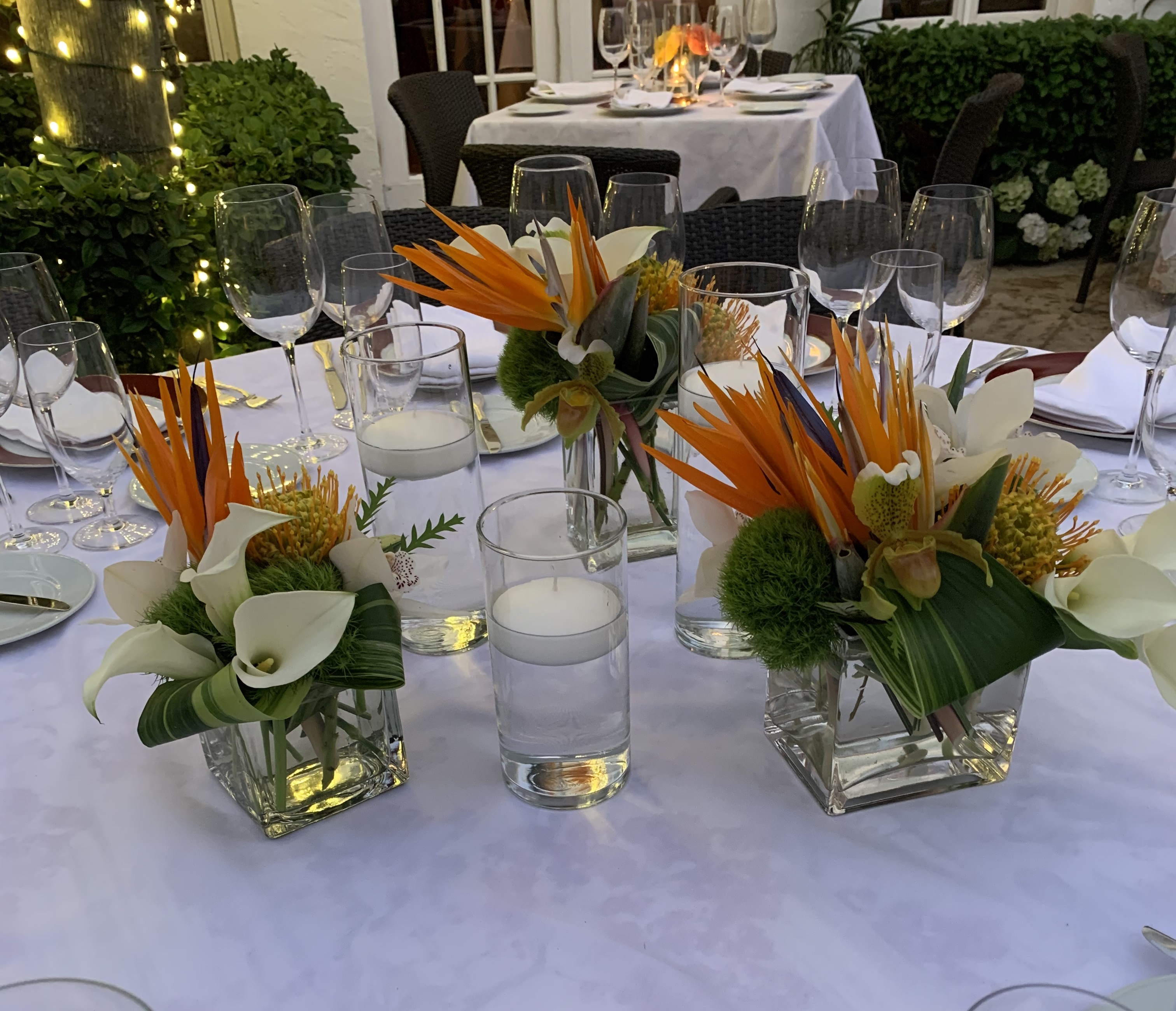 Outdoor Tropical Dining Table Arrangements Velene's Floral