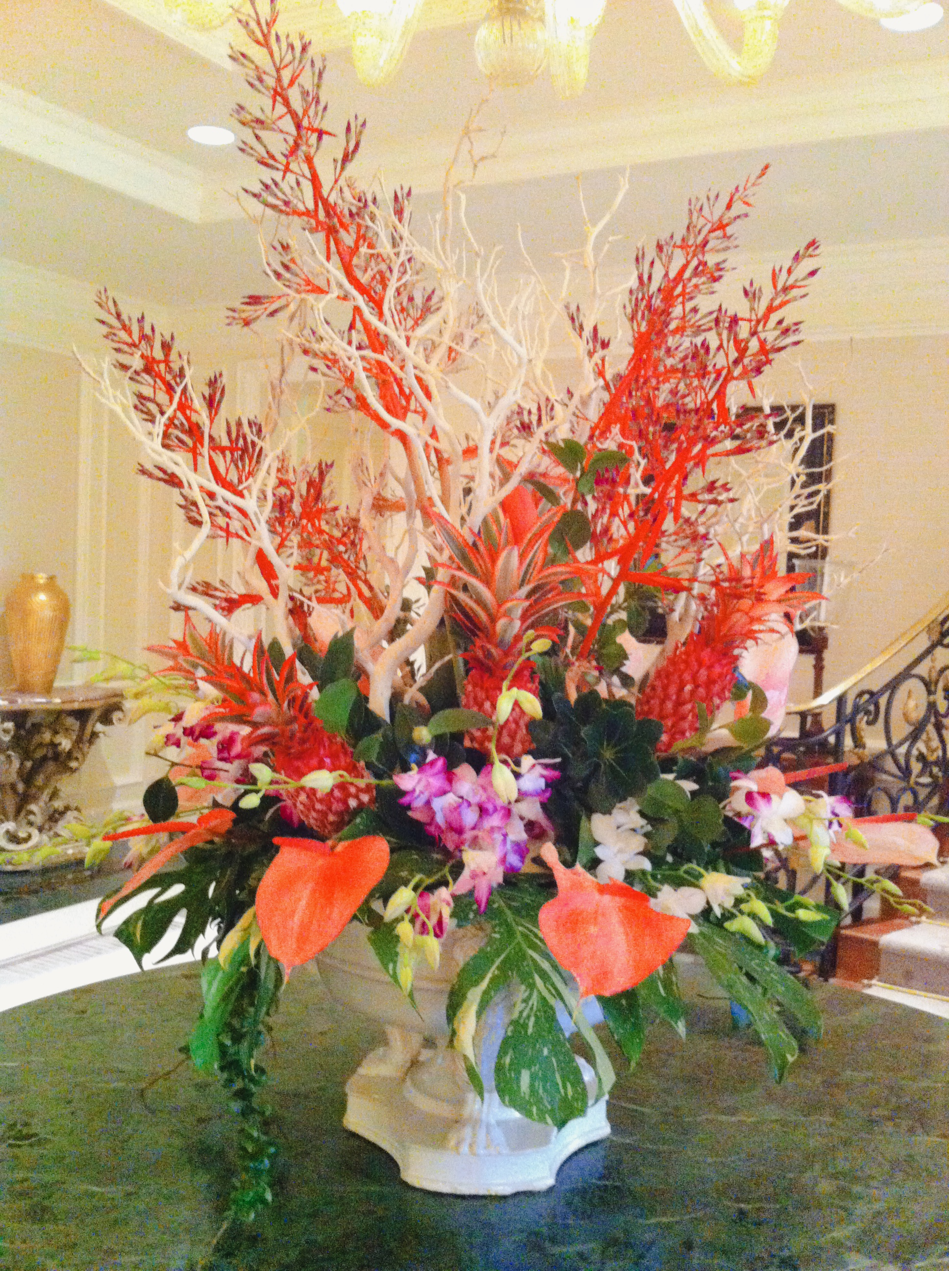 Tropical Large Arrangement, Pinks, Reds, and Branches Velene's Floral