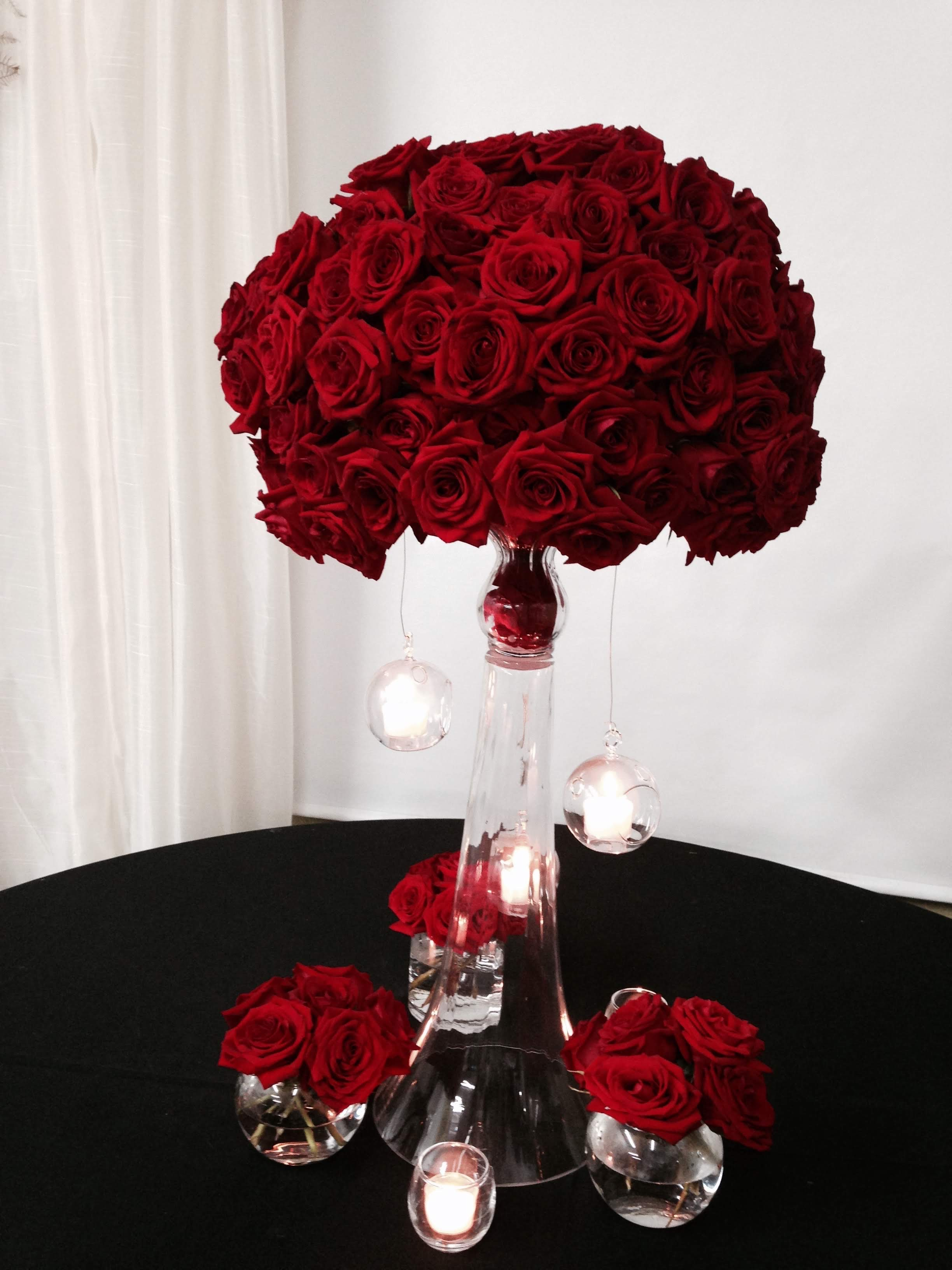 Dark Red Rose Floral Arrangement Velene's Floral